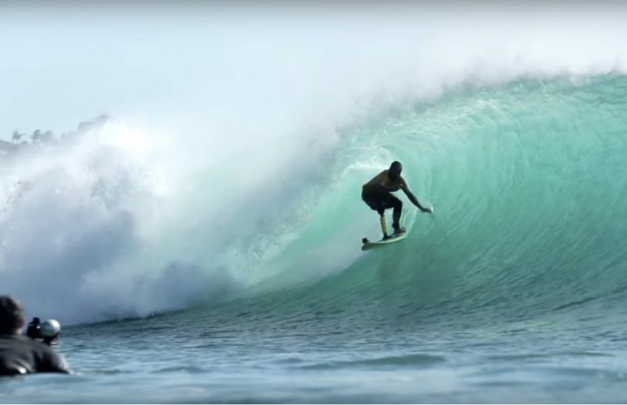 One-Legged Surfer Rips Padang w/a Homemade Prosthetic Limb