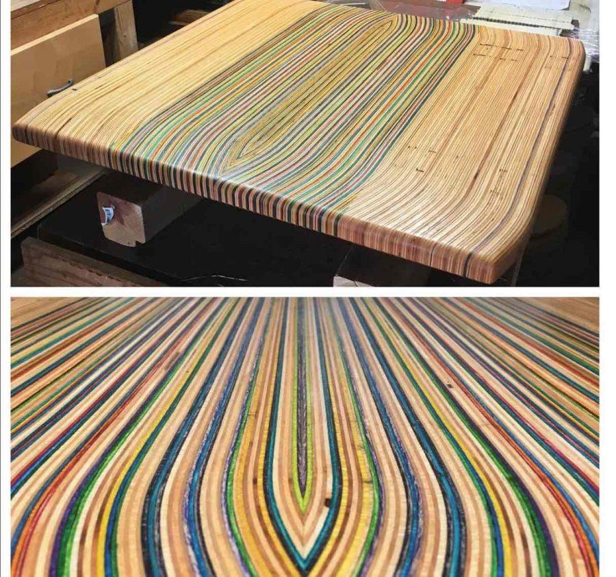 Recycled skateboard deck art